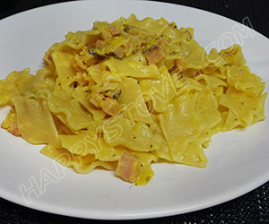 Freshly Homemade Pasta with Italian Pancetta and Saffron Sauce