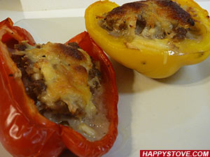 Baked Bell Peppers stuffed with Ground Beef
