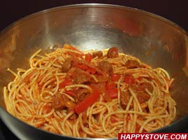 Meatballs and Red Peppers Spaghetti - By happystove.com