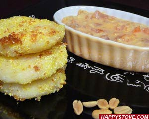 Potato Patties with Peanut Butter Sauce