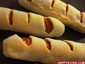 Ovenbaked Frankfurter Sausage Wrapped in Pizza dough