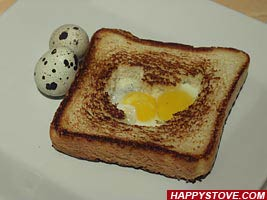 Fried Quail Eggs in Heart Shaped Toasted Bread - By happystove.com
