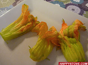 Battered Squash Blossoms Stuffed with Mozzarella Cheese - By happystove.com